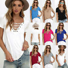 Women Loose Lace Up Pullover T Shirt Short Sleeve Cotton Tops Shirt Blouse New