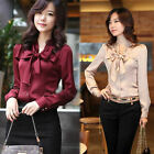 Women's Ladies bowtie OL shirt Long Sleeve Vintage Shirts Tops Chiffon blouse