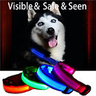 LED Bright Flashing Light up Nylon Dog Pet Night Safety Adjustable Neck Collar