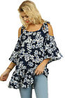 Umgee Women's Umgee Navy & White Floral Drop Hem Cold Shoulder Top