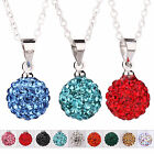 Fashion Crystal Disco Round Ball Silver Plated Shamballa Pendant Chain Necklace