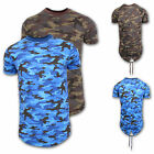 MENS CASUAL CAMOUFLAGE ARMY PRINT T-SHIRT FISH TAIL CAMO SHORT SLEEVE TOP SIZES