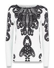 Monsoon soft knit jumper~Black & Ivory baroque print~8 18 ~New