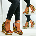 New Womens Ladies Studded Wedge Sandals Flower Strappy Platforms Summer Shoes
