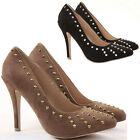 Womens Party Slip on Pumps High Heels Stiletto Prom Court Shoes Size 3 - 8
