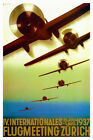 Vintage Art Deco Swiss Aviaton Poster 1937 IV International Airshow Zürich Retro