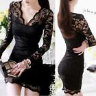 Floral Lace V-neck Stretch Bodycon Cocktail Prom Party Little Black Dress Lined