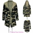 Ladies Waterfall Loose Cardigan Camouflage Army Duster Hooded Womens Jacket Top