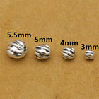 20 Sterling Silver Twist Corrugated Round Beads Bracelet Necklace Spacer