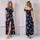 UK Boho Womens Holiday Off Shoulder Stretch Floral Maxi Ladies Beach Party Dress