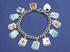 STUNNING PADLOCK STIRLING SILVER BRACELET WITH 11 SILVER PLACE NAME CHARMS