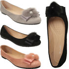 Womens Ladies Flat Ballets Ballerina Dolly Pump Pearl Pom Pom Furry Shoes Size