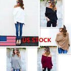 Women Off Shoulder Long Bat Sleeve Jumpers Pullover Knitting