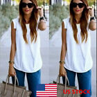 US Women Sleeveless Shirt Ladies Loose Summer Casual Blouse Tops Plain T-shirts