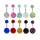 Navel Belly Button Ring Barbell Rhinestone Crystal Ball Piercing Body Jewelry image