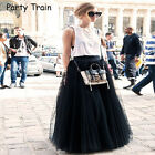 4 Layers Black Tulle Length 100cm Women Long Tulle Skirt Prom Party  Skirts