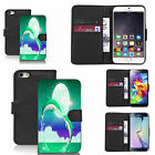 Black pu leather wallet case cover for most mobiles - jumping dolphins