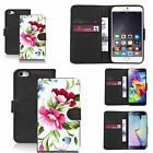 Black pu leather wallet case cover for most mobiles - green flower