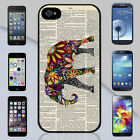 New Colorful Elephant Newspaper Floral Pattern Art  iPhone & Galaxy Case Cover