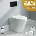 102 Round In-Wall Concealed Ceramic Back to Wall Toilet Suite w Black Button