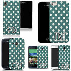 PERSONALISED INITIALS CASE FOR SONY MOBILES - blue spots motif MONOGRAM
