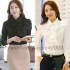 Office Lady Slim Fit Frills Wear To Work Formal Long Sleeve Button Blouse Tops
