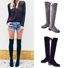 Women Girl Over knee High Thigh Lace Up Stretch Flat Knight Boots Shoes 2017