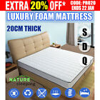 New 20cm Foam Mattress Smooth Elastic Pocket Spring Queen Double Single 7 Zone