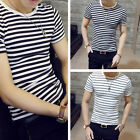 Men Stylish Top Slim Fit Casual T-shirts Striped Shirt Fashion Short Sleeve Tops