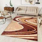 New Rug Modern Design Small Extra Large Soft Pile Waves Pattern Brown