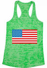 USA Flag Women's Burnout Racerback Tank Tops Patriotic 4th July Independence Day