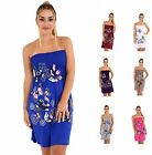 Womens New Floral Ladies Butterfly Print Bandeau Boobtube Sheering Top Plus Size