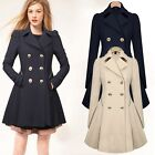 2016 Women Long Sleeve Slim Fit Trench Double Breasted Coat Jacket Outwear New