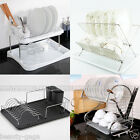 Single/2 Tier Chrome Plate Dish Cup Cutlery Drainer Rack Drip Tray Plates Holder