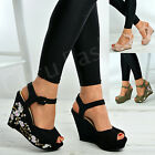 New Womens Ladies Floral Wedges Platform Sandals Ankle Strap Shoes Size Uk 3-8