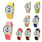 Elegant Women's Anchor Leather Bracelet PU Band Vintage Jewelry Wrist Watch