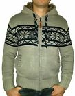 Poolman Herren Winter Strickjacke Norweger Jacke gefüttert grau