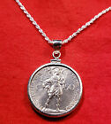 1939 Vatican St Michael the Archangel Coin Sterling Silver Pendant Necklace +Box