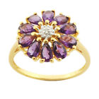 Amethyst 1.84 Carat Genuine Gemstone & Diamond Floral Ring In 9 Kt Yellow Gold