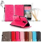"For LG K10 M2 5.3"" Tempered Film 3D Crystal PU Leather Flowers Case Cover Flip"