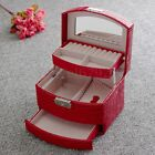 Leather Jewelry Box Case Ring Earring Necklace Mirror Storage Display Organizer