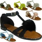 Womens Ladies Buckle T-Bar Fur Pom Pom Studs Shoes Peeptoe Sandals Flats Size
