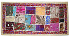 EMBROIDER INDIAN SARI PATCH DECOR THROW SOFA TABLE RUNNER WALL HANGING TAPESTRY