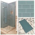 "3""x6"" Sea Erotic Crystal Glass Subway Tile For Kitchen Bathroom Shower Spa Wall"