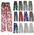 New Plus Size Women Printed Palazzo Wide Leg Flared Ladies Trousers Pants 8-26