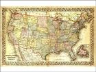 Vintage Map USA Canada Background  Edible CakeTopper Wafer or  Icing Decoration