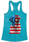 USA Flag Golden Retriever Women's Burnout Racerback Tank Tops Independence Day