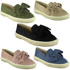 New Womens Ladies Loafers Bow Espadrilles Shoes Sandals Flats Size