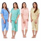 Ladies Pyjama Set 3-4 Length Short Sleeve Floral Button Nightwear Soft PJs S-XXL