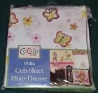 """NEW CoCaLo Baby """"Willa"""" Fitted Crib Sheet--100% Cotton--Butterflies/Flowers"""